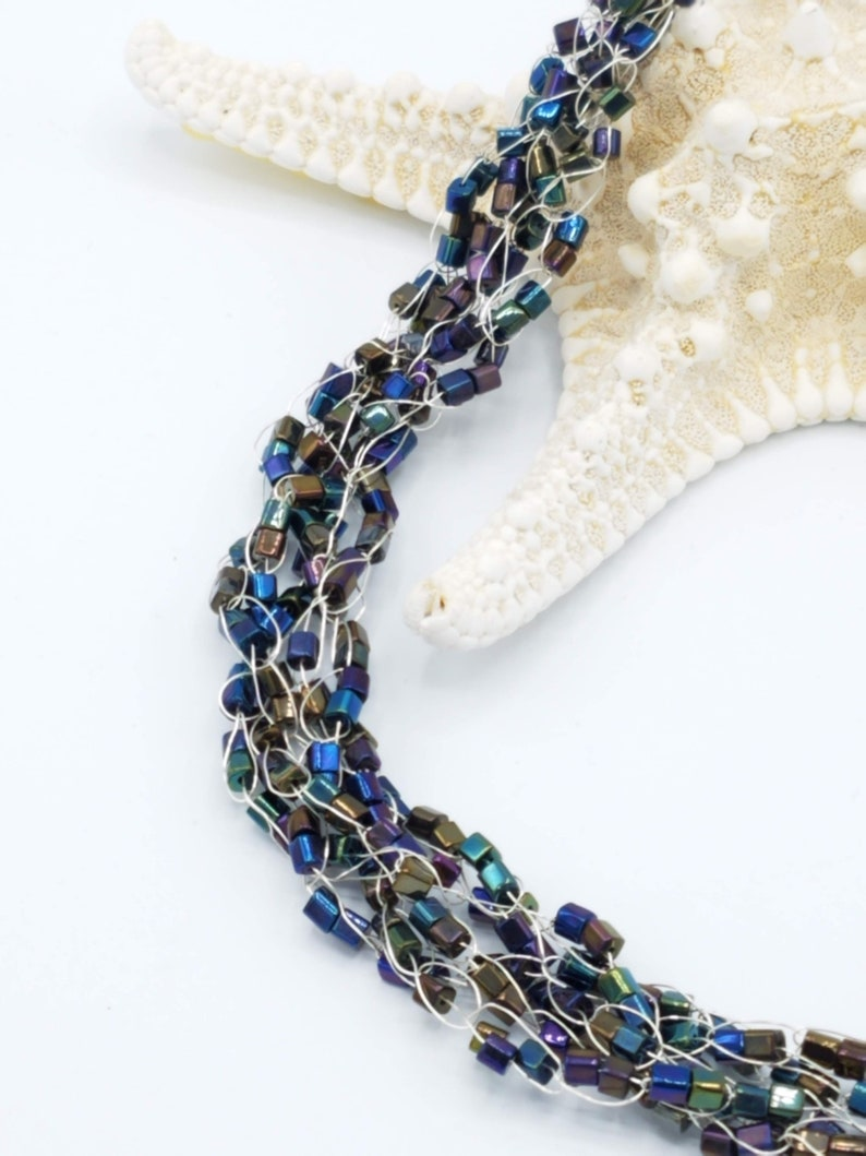 Iridescent Square Glass Czech Bead Necklace; Mermaid Inspired; Wire Crocheted Formal Event Jewelry;  Wedding Necklace; Statement Necklace