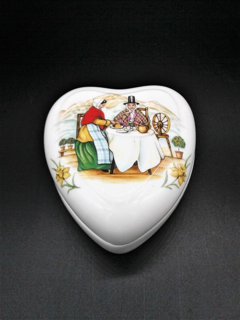 Heart Shaped Trinket Ring Box Staffordshire Fine Bone China Daffodiles Women Having Tea With