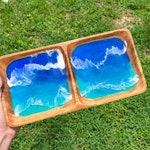 Decorative Tray - Functional Art - Acacia wood tray - Resin ocean wood tray