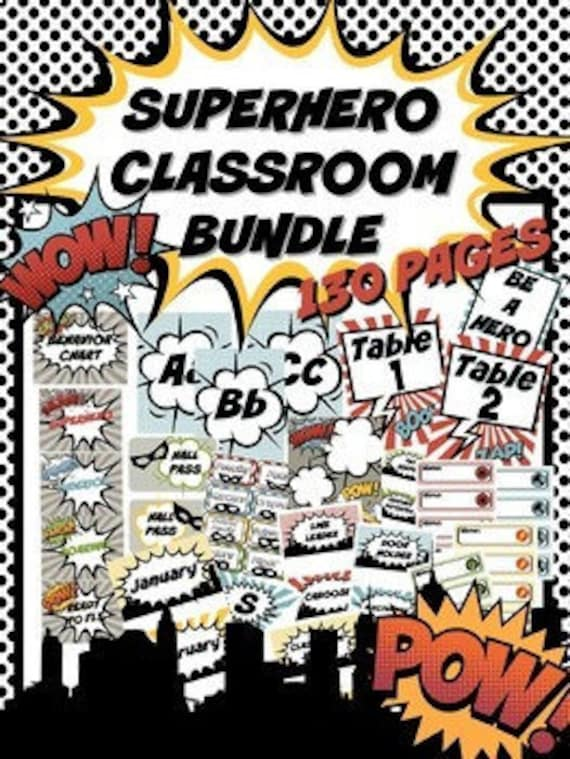 Superhero Classroom Decor Bundle 130 Pages Pop Art Superhero Decorations