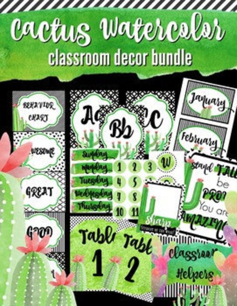 Watercolor Cactus Classroom Decor Bundle Green Classy 105 Etsy