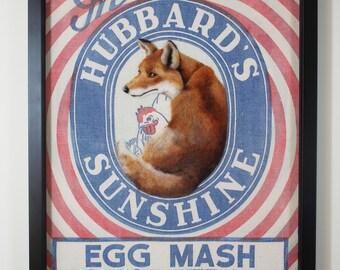 Hubbard Fox ... Framed Needle Felted Animal Wall Art on Vintage American FeedSack.