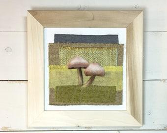Shades of Green ... Framed Needle Felted Fungi Original Wall Art Textile Art