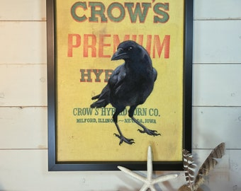 Premium Crow ... Framed Needle Felted Crow Wall Art on Vintage American FeedSack.