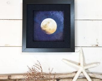 Purple Moon ... Framed Needle Felted Full Moon Original Wall Art Textile Art