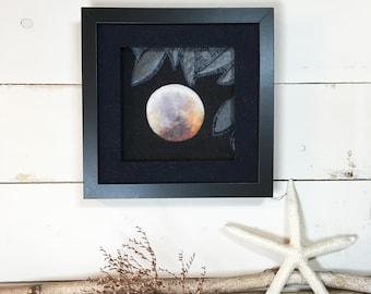 Leaf Moon ... Framed Needle Felted Full Moon Original Wall Art Textile Art