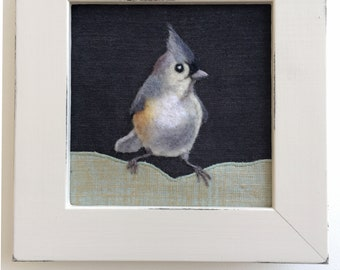 Tufted Titmouse... Framed Needle Felted Bird Original Wall Art Textile Art