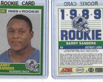 1989 Score #257 Barry Sanders Detroit Lions Rookie Reprint Card