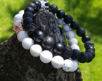 41061e7ddb Bracelet for Couples Black Matte Agate & White | Crown Couple Bracelets for  His and Her | Adjustable Beads Bracelets 2Pcs for Men and Women