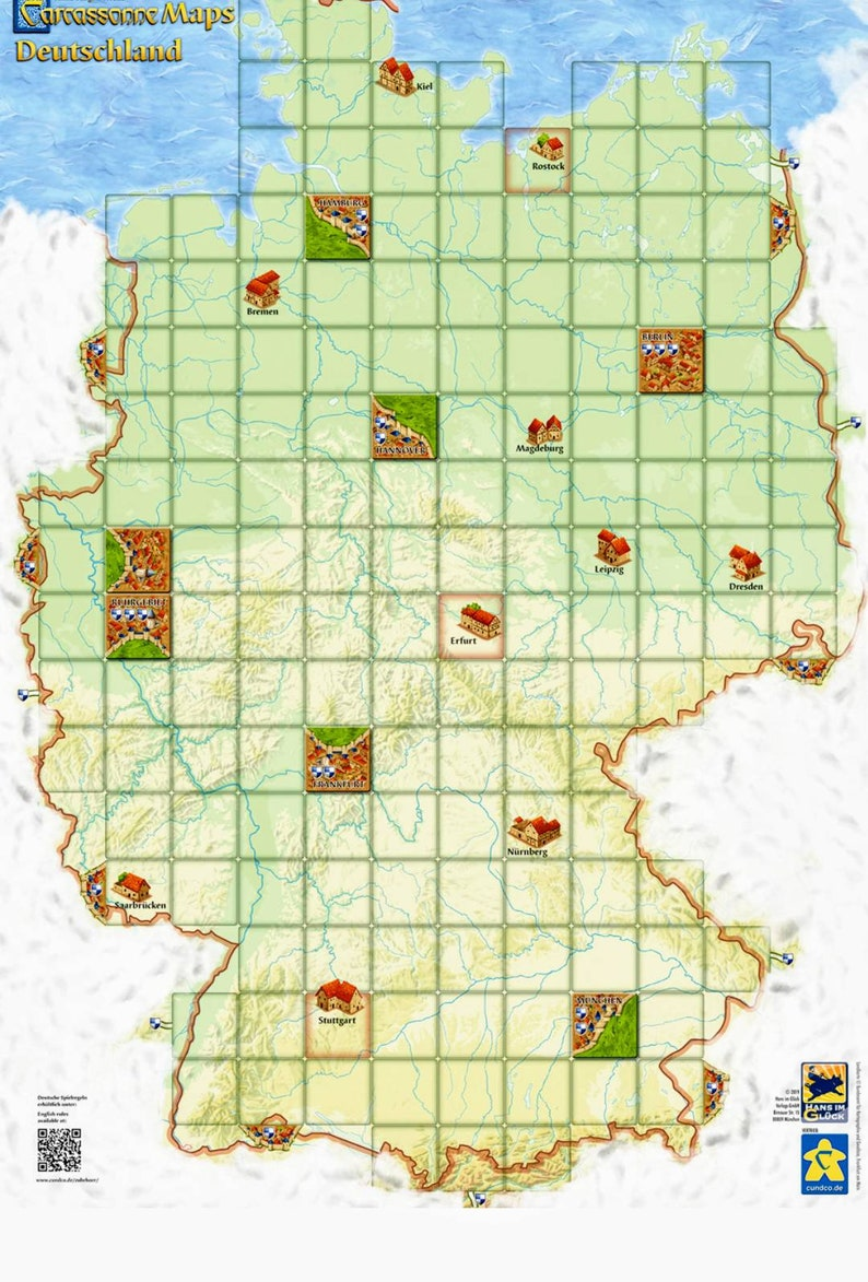 Map Of Deutschland Germany.Carcassonne Map Of Germany A New Way To Play This Board Game Suitable For All Expansions Buy 3 Get 5