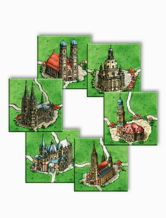 6 Meeple +Box Extention Kathedralen in Deutschland Carcassonne Erweiterung