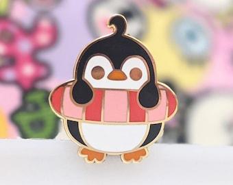 "Penguin at the Beach ""Rubber Ring"" Enamel Pin"