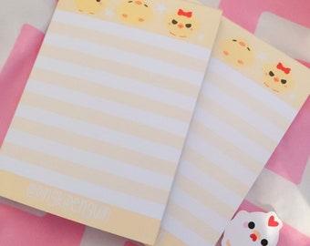 """Cute Mini Yellow Chick """"Tofu"""" themed A6 Notepad Memopad"""