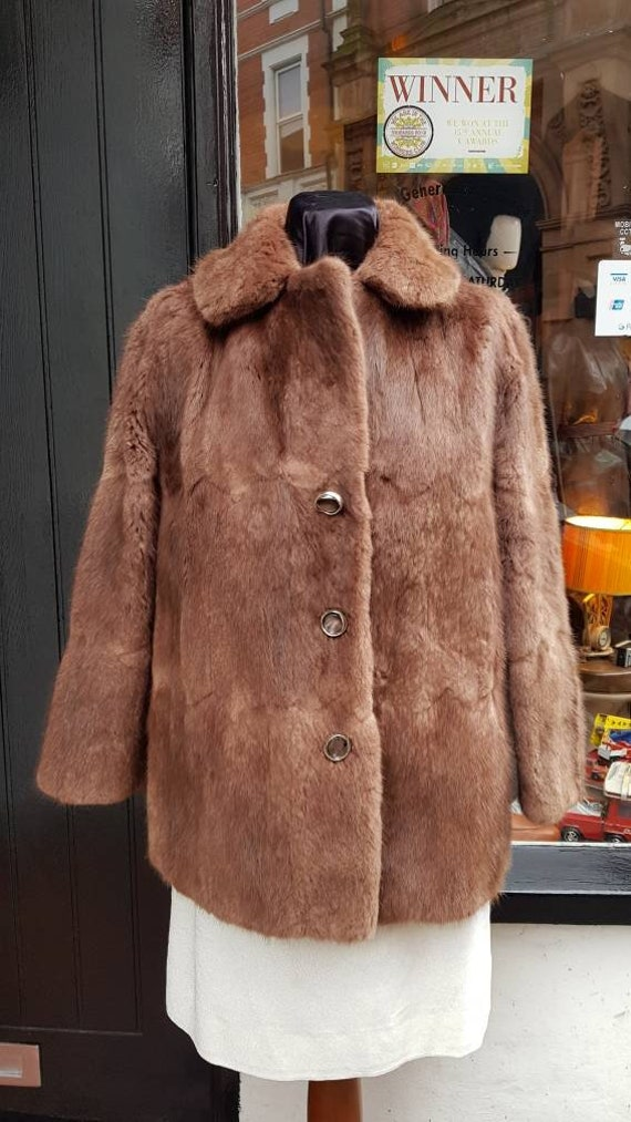 Vintage Coney Real Fur Coat in Latte Cream Brown tone Est Size Small  Medium Lined Rabbit Dramatic Collar and Cuffs With Pockets