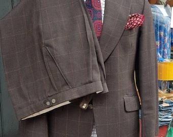 "Vintage 1970s 70's Burtons brown wool window payne checked flared dandy sartorial gents suit.Medium 39-41"",34-36""w vgc"
