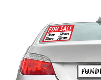 """Personalized custom For Sale Sticker 8"""" x 11"""" Bumper Sticker - Custom changes and orders welcomed!"""