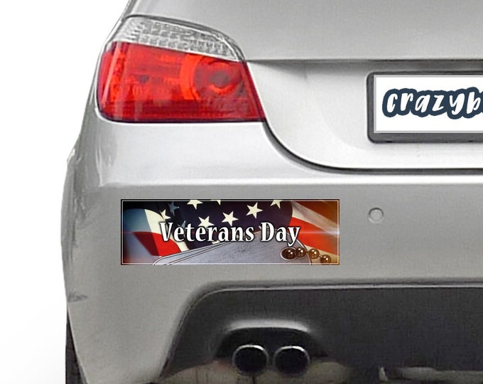 Thank You Veterans, Veterans Day 10 x 3 Bumper Sticker - Custom changes and orders welcomed!
