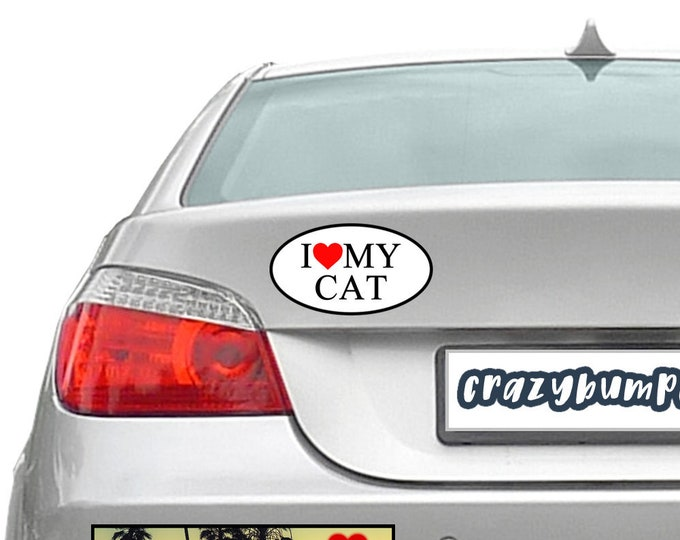 I Love My Cat Oval Sticker or Added UV Protection Laminate Coating 3 x 2 inch