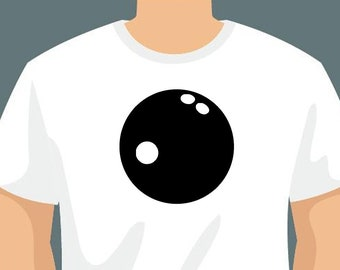 Bowling Ball or Personalized Text On Front T-Shirt using long lasting vinyl print custom tee