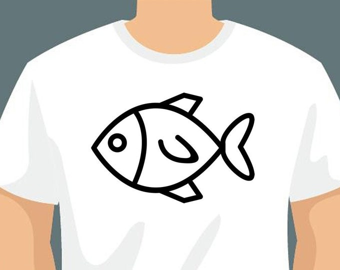 Fish or Personalized Text On Front T-Shirt using long lasting vinyl print custom tee
