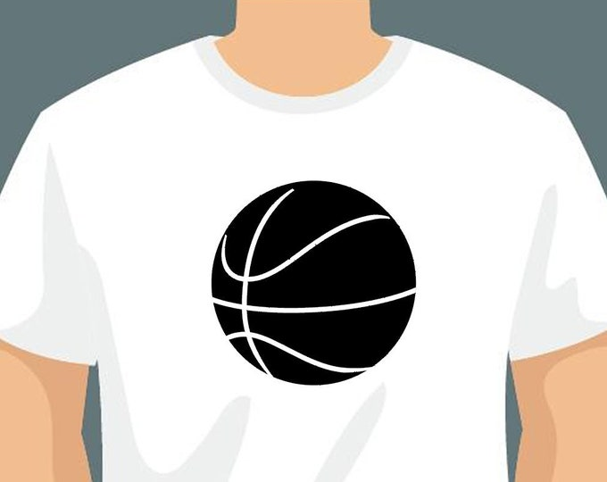 Basketball or Personalized Text On Front T-Shirt using long lasting vinyl print custom tee