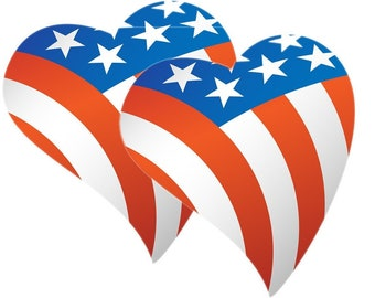 12 USA american pride heart stickers or magnets 2 inch by 2 inch other sizes available ask us for larger sizes and pricing
