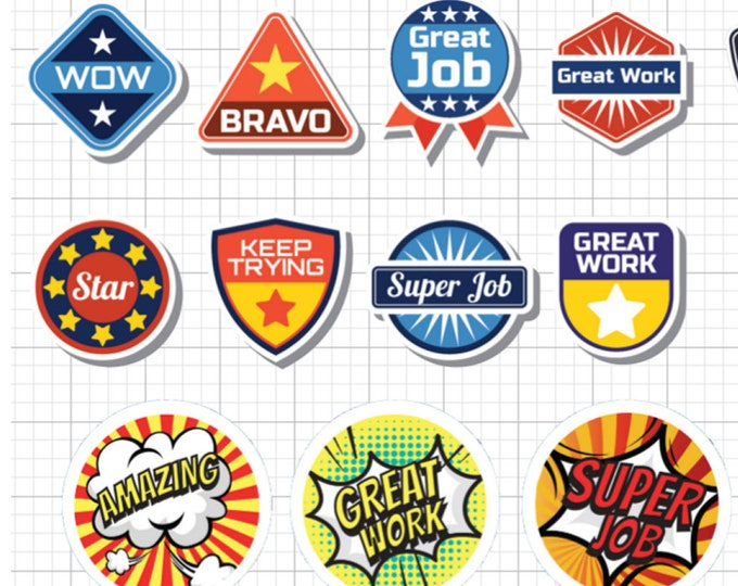 22 teacher reward fun stickers in standard, photo or vinyl print materials with laminate or magnet options available.  Premium full color.