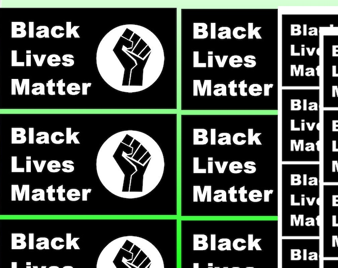 "16X Pack Of 3.25"" wide x 1.8"" high Black Lives Matter bumper / window vinyl sticker or magnet with UV Laminate"