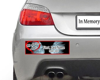 My Guardian Angel, In Memory, memorial custom bumper sticker 10 x 3 or Magnetic Bumper Sticker Available
