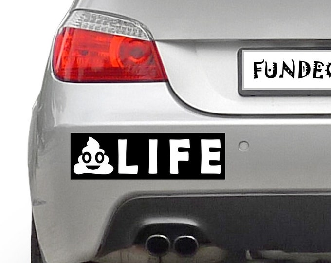 POO Life Emoji Icon 10 x 3 Bumper Sticker - Custom changes and orders welcomed!