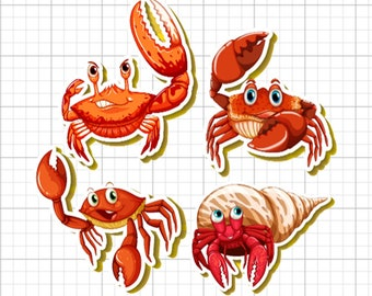 4 CRAB stickers in standard, photo or vinyl print materials with laminate or magnet options available.  Premium full color.
