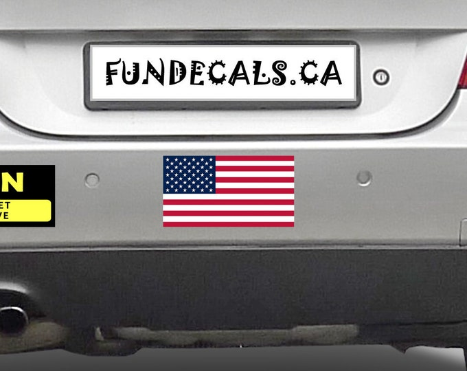 2X USA Flag 7 x 3.8 inch Bumper Sticker or Magnetic Bumper Sticker Available