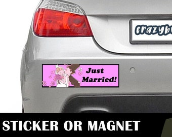 Just Married Bumper Sticker 10 x 3 Bumper Sticker or Magnetic Bumper Sticker Available - Custom changes and orders welcomed!