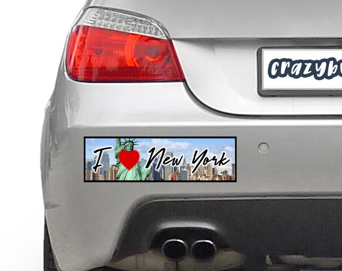I Love New York 10 x 3 Bumper Sticker - Custom changes and orders welcomed!