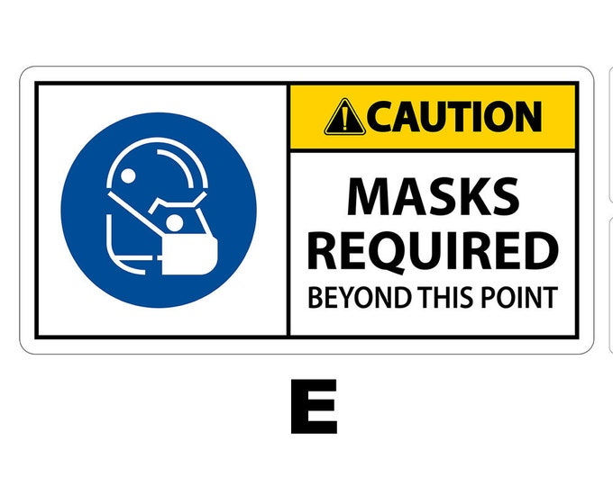 """8"""" Masks Required Vinyl Sticker 4"""" High by 8"""" Wide, UV protected laminate coating or magnet options available.  Premium."""