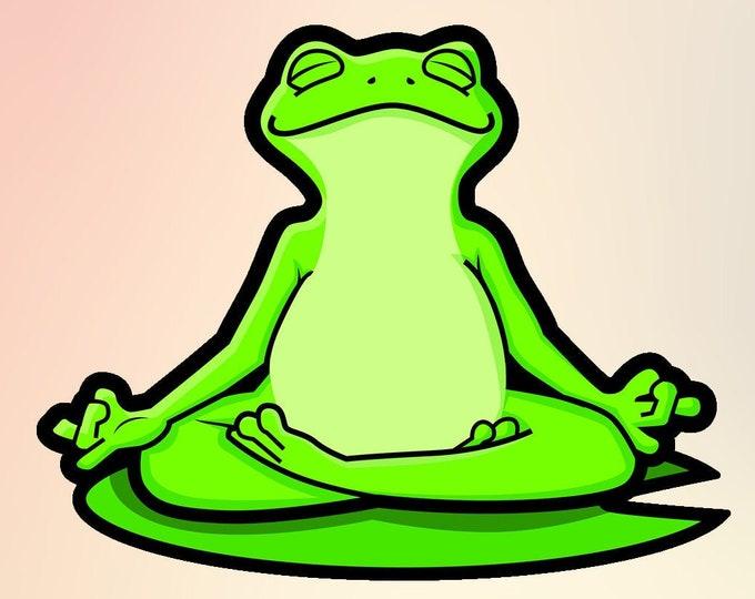 "Zen Frog Vinyl Sticker or Magnet, Vinyl Sticker, Laminate, UV Laminate and Magnet options from 1"" to 6"""
