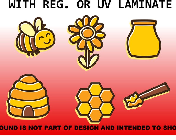 6 Honey Bee Sticker Set, 2x2 + various wide Vinyl Sticker, Laminate, UV Laminate and Magnet options!