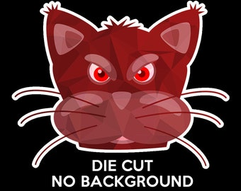 4x Crazy cat or angry cat Stickers or Magnets, Car, Fridge, Laptop, Water Bottle, you name it stick it.  Various sizes available