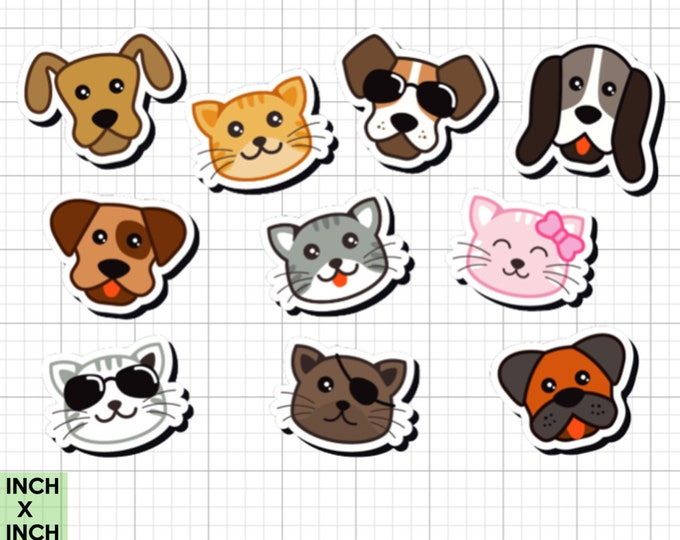 10 fun cat and dog stickers in standard, photo or vinyl print materials with laminate or magnet options available.  Premium full color.