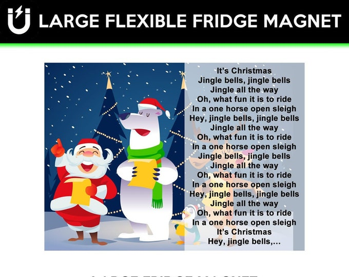 Jingle Bells Lyrics Children Sing Along Christmas large fridge magnet 6.5 inch x 9 inch premium large magnet coated in  laminate protection