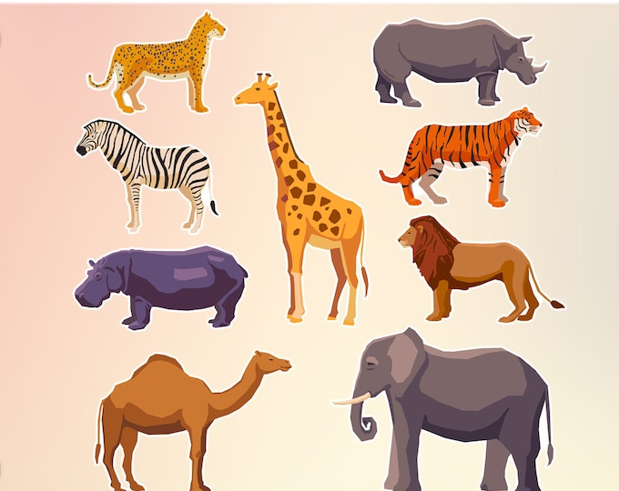 42 Sticker Collection Wild Animals stickers in standard, photo or vinyl print materials with laminate or magnet options available.  Premium.