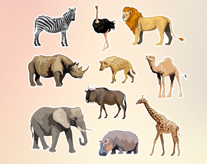 10 Wild Animals stickers in standard, photo or vinyl print materials with laminate or magnet options available.  Premium.