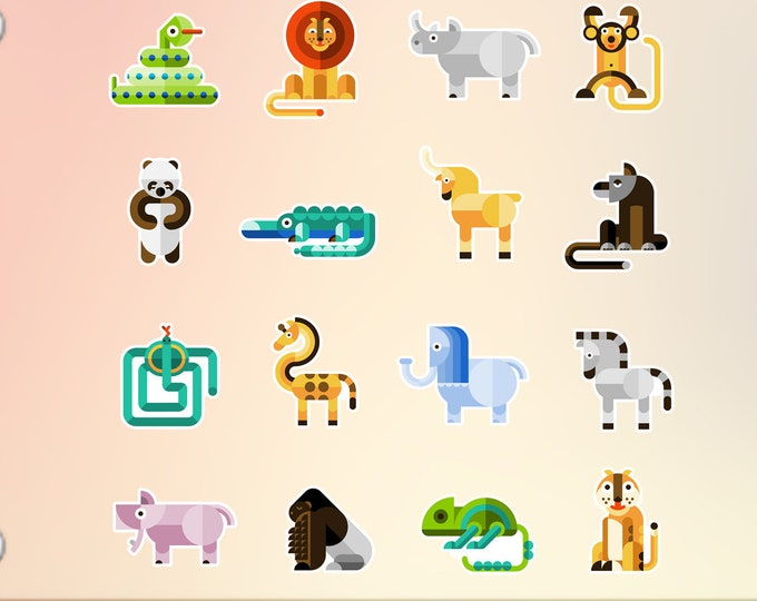 16 Wild Animals stickers in standard, photo or vinyl print materials with laminate or magnet options available.  Premium.