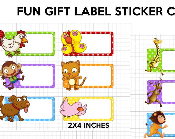 24 animal fun gift tag stickers great for birthday gifts, everyday gifts or just a fun gift