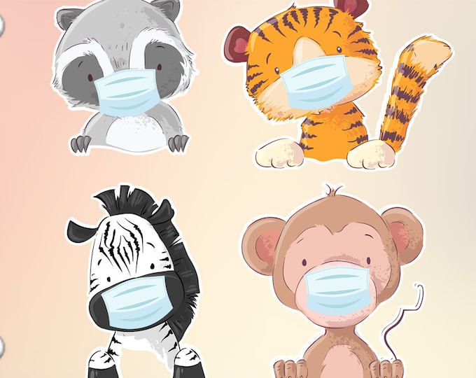 MASK REMINDERS 4 Cute Wild Animals wearing masks stickers in standard, photo or vinyl print materials with laminate or magnet options.