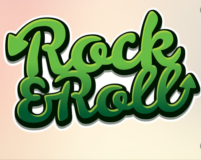 "Rock & Roll Vinyl Sticker or Magnet, Vinyl Sticker, Laminate, UV Laminate and Magnet options up to 9"""