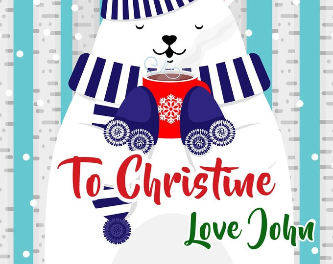 """Large customizable Christmas Holiday Present Vinyl Premium Gift Tags with Laminate for Premium Feel, 4"""", 6"""" or 8"""" sizes"""