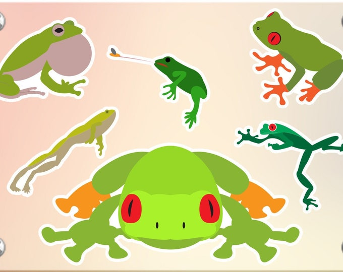6 Frog stickers in standard, photo or vinyl print materials with laminate or magnet options available.  Premium.