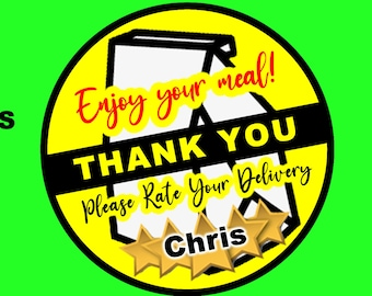 Sheets of 12 Door Dash Food Delivery 5 Star Review 2 inch round delivery stickers personalized with your name