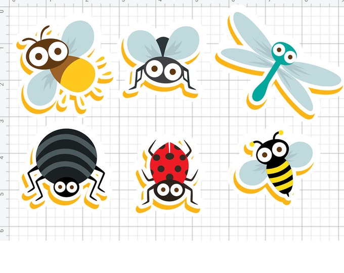 6 fun bug stickers or magnets 2 inch by 3 inch other sizes available ask us for larger sizes and pricing